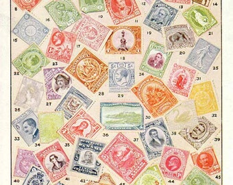 Country Stamps Print 2 Pages, Rare Stamps, Postage Stamps, Antique Color Print Pair 1928