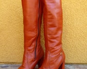 Vtg 70's Boho burnt orange genuine Leather tall Boots Sz 6 M