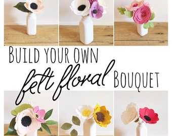Build Your Own Custom Felt Flower Bouquet || Felt Flowers || Flower Stems || Wedding Flowers || Wedding Bouquet || Custom Bouquet || Florals