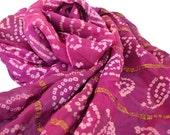 Long Silk Scarf, Magenta Scarf, Pink Purple Sari Scarf, Tie Dye, Silk Bandana, Gypsy Scarf, Indian Scarf, Hippie Boho Festival Style, Tribal