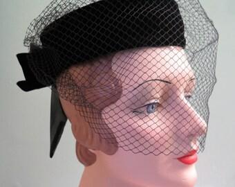 Vintage Black Velvet Pillbox Hat with Veil - Pillbox Hat - Black Pillbox Hat - Pillbox Hat with Netting - Black Velvet Hat - Black Hat