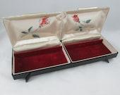 Farrington Jewelry Box Long & Sleek Mid Century Black Plastic Velvet Lined Rose Print