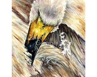 Tucked In, Swan – Original Watercolor Painting 10X15