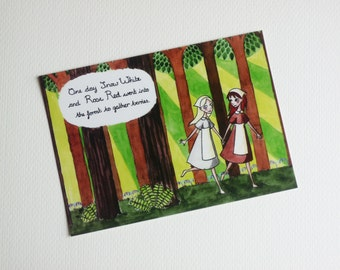 Snow White and Rose Red - Fairytale Illustration Postcard Print