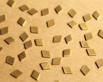 30 pc. Tiny Raw Brass Diamonds: 6mm by 5mm - made in USA | RB-772