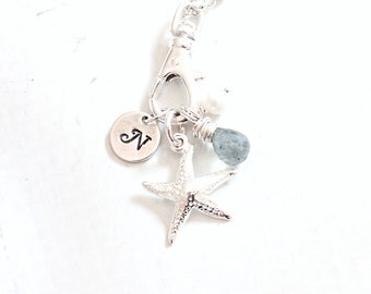 Storm Starfish Necklace, Summer Jewelry, Silver Starfish Charm, Moss Aquamarine Gemstone Necklace Personalized Beach Jewelry | Sample Sale