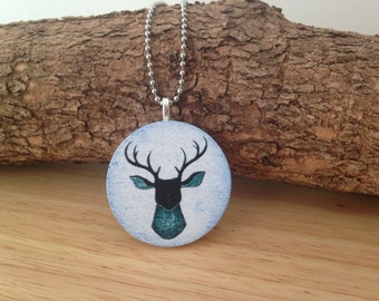 Elk / Deer Embossed Pendant Necklace