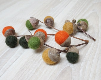 12 felted acorns natural caps wool balls (0.4-0.5 in. size) green yellow grey blue pink purple orange brown small on stem