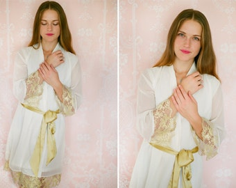 1 Lace trimmed and lined chiffon robe. Bridal robe. Boudoir robe. Bridal party robes Bridal lingerie Chiffon lace robe