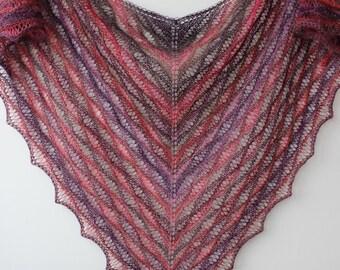 Multi colored triangular lace shawl