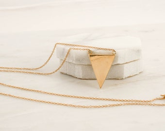 Solid Gold Triangle Bar Necklace in 14K Yellow Gold