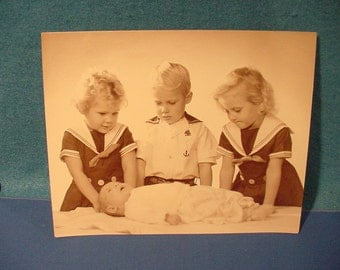 Sepia Tone Photo Vintage 30s;40s  3Children in nautical clothes with new baby