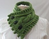 Buttoned Cowl,  Chunky Cowl, Fisherman's Wife Cowl, Cable Knit Cowl, Neck Warmer, Knitted Cowl, Cable Knit Scarf, Color Olive Green