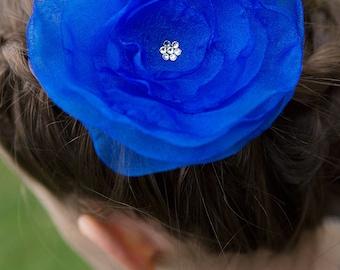 FLOWER HAIR CLIP with Swarovski crystals - Royal Blue Organza (Large)