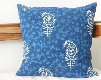 Indigo Pillow cover in Paisley Print ,Block Print pillow cover, Floral Print throw pillows, blue cushion cover