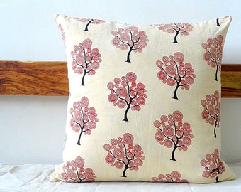 Tree Print block print Pillow cover, Off white Pillow cover with red Print
