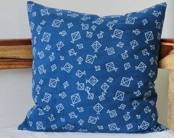 Indigo Pillow cover with Kites Print ,Indigo Decorative pillow, Indigo Decor, Block Print pillow cover, blue cushion cover, kids room decor