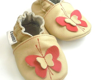 soft sole baby shoes leather infant gift girl Butterfly red beige 12 18 fille chaussons cuir souple pour bebes chaussure ebooba BF-45-BE-M-3