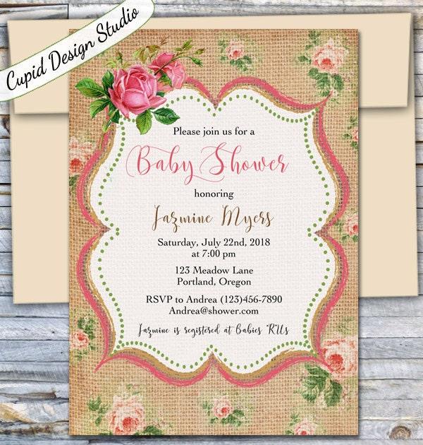 Rustic Baby Shower Invitation / Baby Shower Invites / Unique