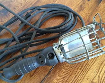 Vintage Industrial Wire Cage Hanging Shop Light
