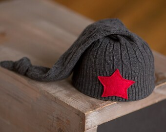 Newborn Boy Hat, Upcycled Hat, Charcoal Gray Hat with Red Star, Newborn Photo Prop, READY TO SHIP newborn prop, Red and Gray Newborn Hat rts