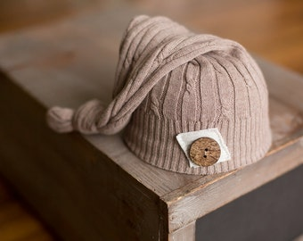 Upcycled Newborn Hat Tan Cable Knit Sleepy Time Elf Hat with Patch Wood Button READY TO SHIP Newborn Photography Prop
