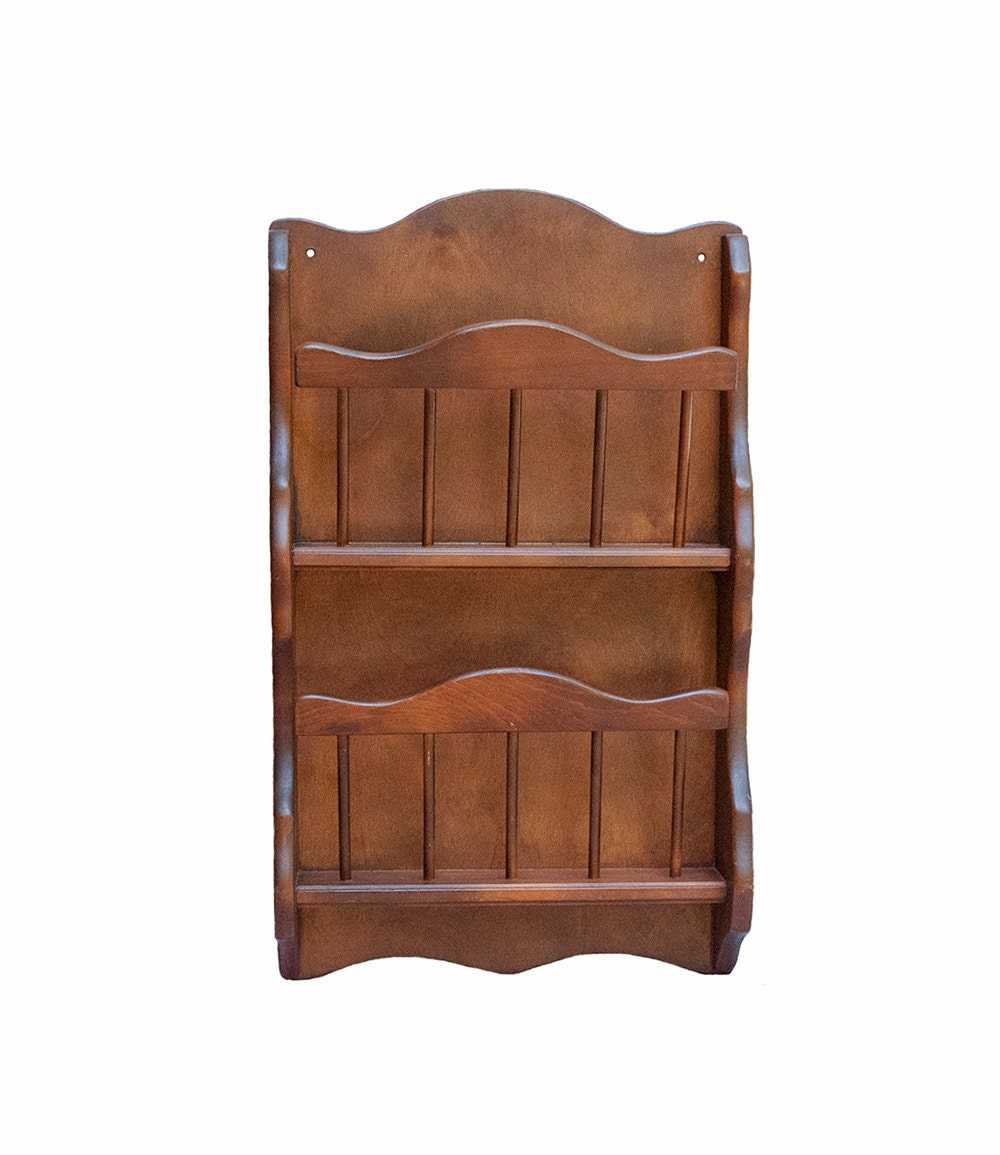 Wall Magazine Rack Vintage Book Holder Solid Wood By