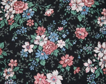 Vintage Cotton Fabric with Pink Blue White Flowers, Floral Doll Dress Quilting Sewing Fabric Material 1 2/3 yard