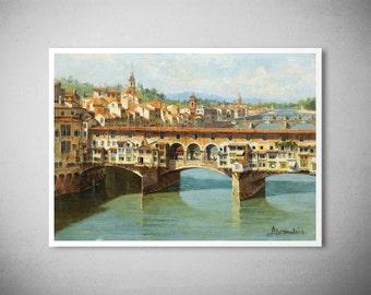 The Ponte Vecchio, Florence by Antonietta Brandeis  -  Poster Paper, Sticker or Canvas Print / Gift Idea