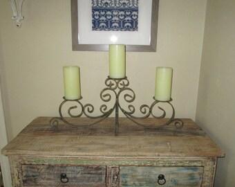 Bronze Triple Candelabra, Pillar Candleholder, [Alo]