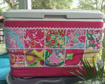 Large Pink Lilly Pulitzer Patch Work Fabric Covered 36 qt Coleman chest Cooler, sorority gift, tailgate party, beach, keeps ice for 3 days