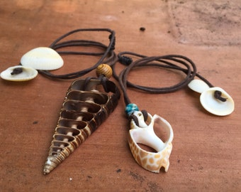 His And Hers Shell Necklaces On Vegan Leather Cord. 100% Adjustable.