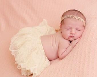 Rose Gold Headband, Head Wrap with Swarovski Rhinestones, Newborn baby Headband, Baby girl, Hair accessories, PhotoProp, Rhinestone headband