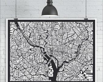 Washington DC Neighborhoods Map Print - Custom Washington DC Typography Map with Landmarks, Various Colors, Word Map Art Print Poster