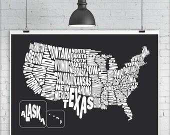 USA Map Print - Typography Map of the United States, Map Art Print, US States Typography Map