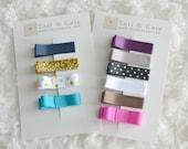 Set of 10 Fully Lined MINI Non Slip Hair Clips-Gold Glitter, Satin, Polka Dots, Tuxedo Bows