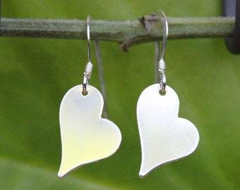Sterling Silver Heart Earrings, Sterling Silver Heart Drop Earrings, Silver Heart Hook, Plane Heart Earrings, Sterling Silver Drop Earrings