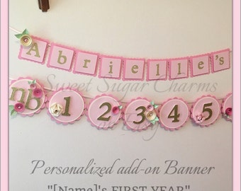 Personalized pink and gold first year banner. 1st birthday photo banner. Shabby chic party. Pink and gold birthday. First birthday banner.