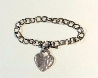 Vintage Heart Sterling Silver Charm Bracelet