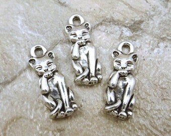 Set of Three (3) Pewter Fastidious Cat Charms - 5173
