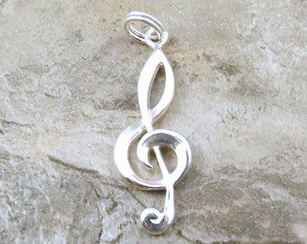 Sterling Silver Treble Clef Charm on Sterling Silver Split Ring - 1080