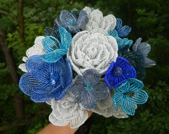 Blue and White French Beaded Flower Bridal Bouquet