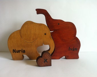 Elephants love with custom wood