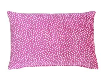 Pink chenille jacquard lumbar pillow