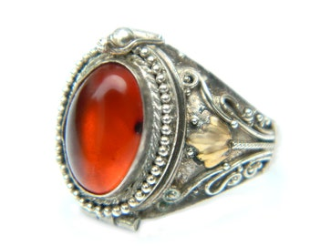 Amber 925 Locket Poison Ring Silver Vintage Secret Compartment Sterling Jewelry For Women Brass Or Gold Accents Size 6.5 Victorian Goth