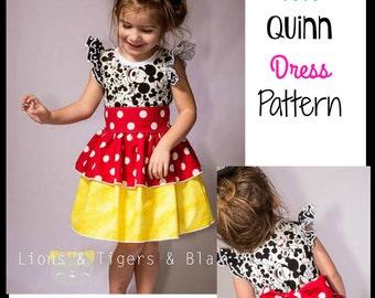 Girls Quinn Dress - PDF Sewing Pattern Sizes 3 months - big girl 12  Instant Download printable