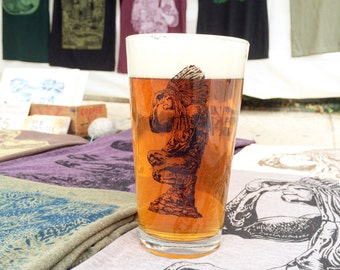 The Native American Indian Statue from the Wissahickon in Fairmount Park -- Paul Carpenter Art -- 16 oz Pint Glass