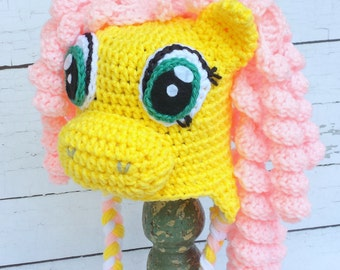 Crochet yellow horse hat.Horse hat.
