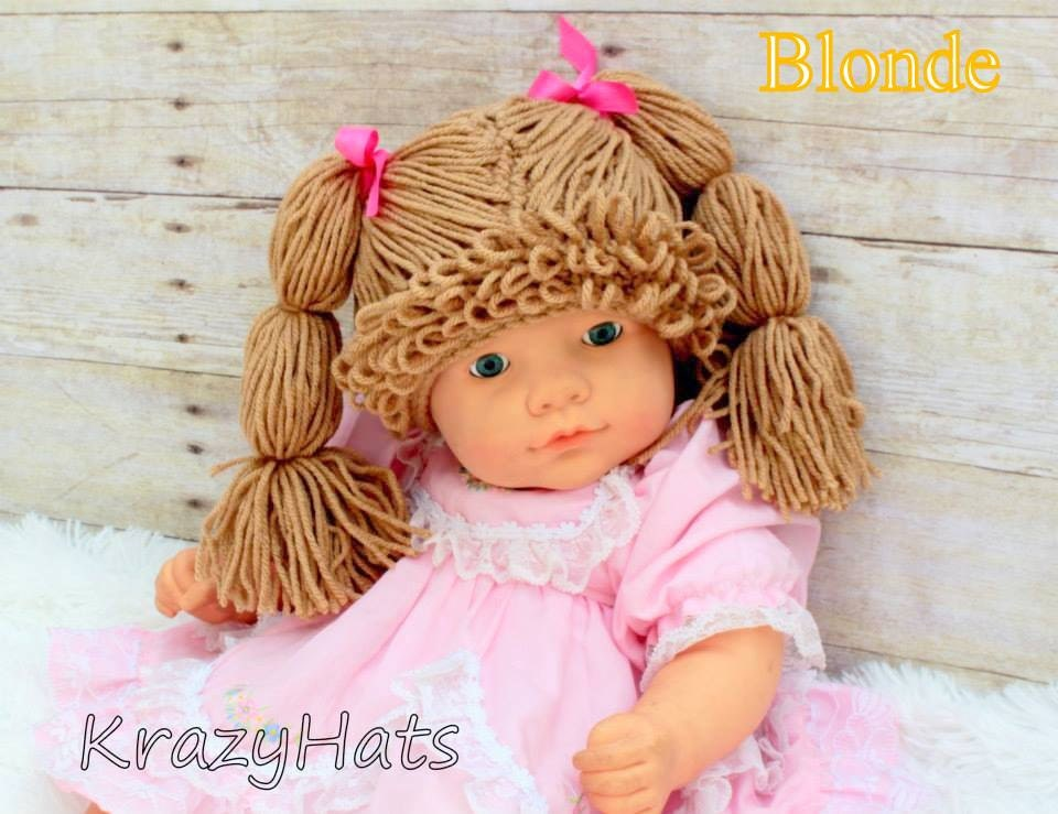 Crochet Cabbage Patch Wig/Hat.Size:3 month old to 4y.old.Made