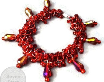 Red Chainmaille Bracelet, Shaggy Loops Chainmaille Bracelet, Crystal Charm Bracelet, Beaded Chainmaille Jewelry